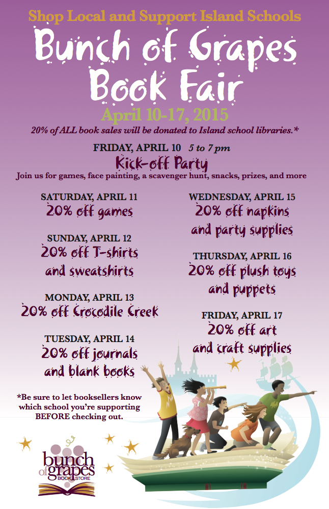 Bunch of Grapes Book Fair to Benefit MVRHS and Island Schools