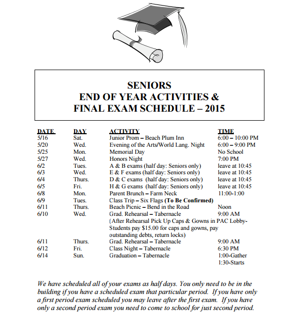 Seniors End-of-Year Activities
