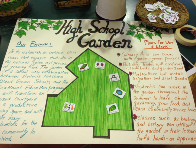 Garden design by MVRHS student and IGS intern, Caitlin Serpa. Her senior project was to start the MVRHS garden.
