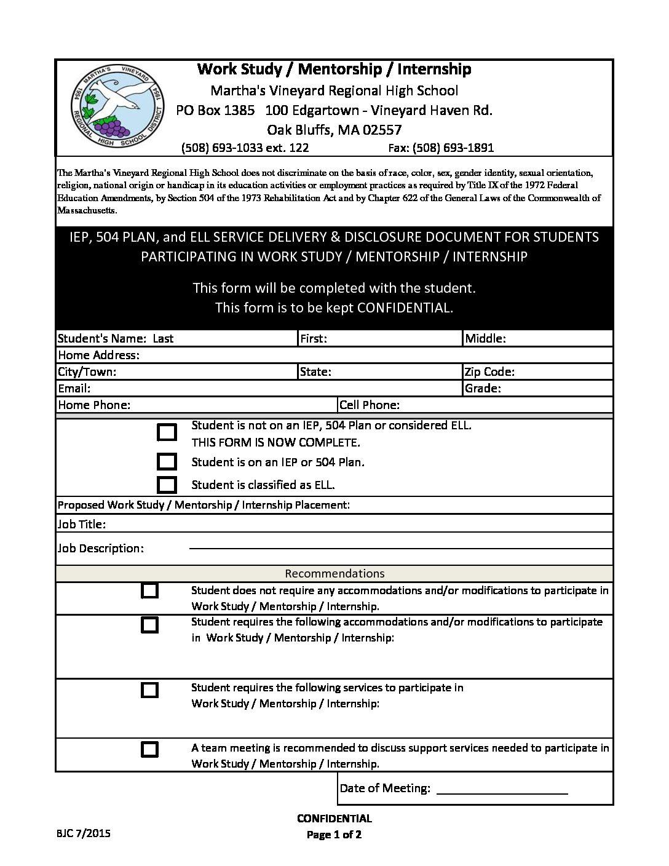 Iep Planning Accommodations And >> Work Study Mentorship Internship