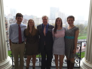 View from the state house with our  Representative Tim Madden (Zach, Casey, Kat, and Rose)