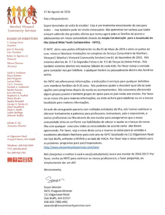 IWYC Letter - Portugues