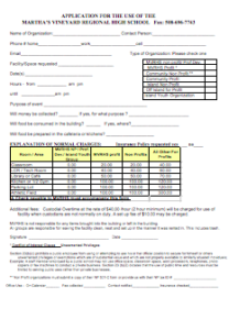 Application for Use of Building & Grounds