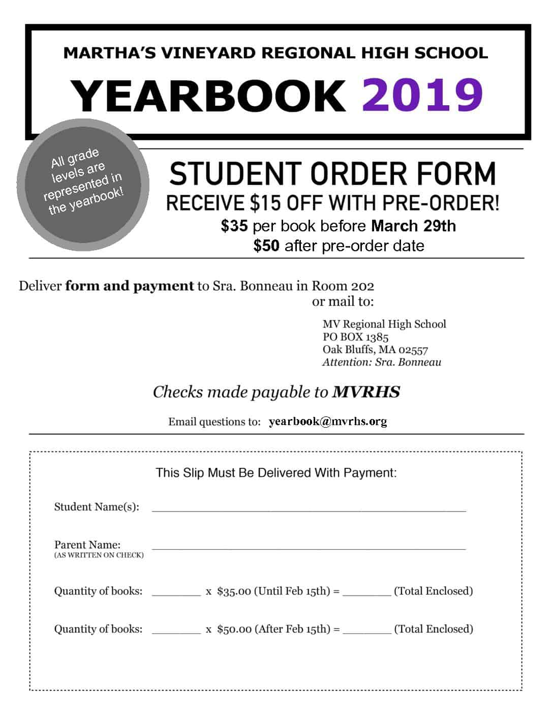 yearbook order form  5 Yearbook Order Form - MVRHS